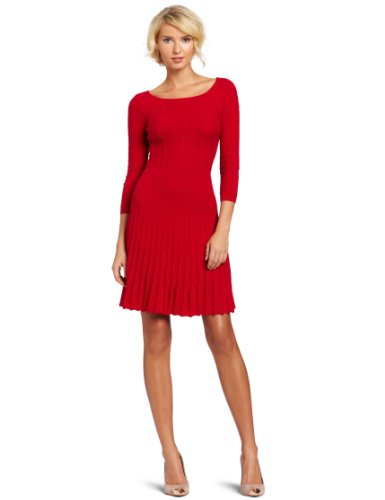 BCBGMAXAZRIA Women s Cable Dress With Ribbing, Rio Red, Small