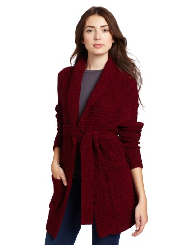 Plenty by Tracy Reese Women s Shawl Sweater Coat, Cranberry, Small