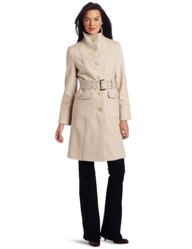 Kenneth Cole Women s Single Breasted Button Front Coat, Flax, 6