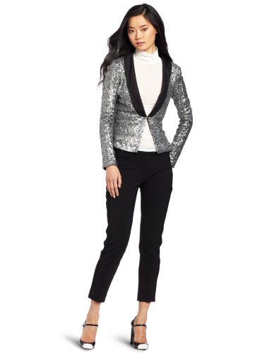 Women s Shimmer Sequins Blazer, Antique Silver, Small
