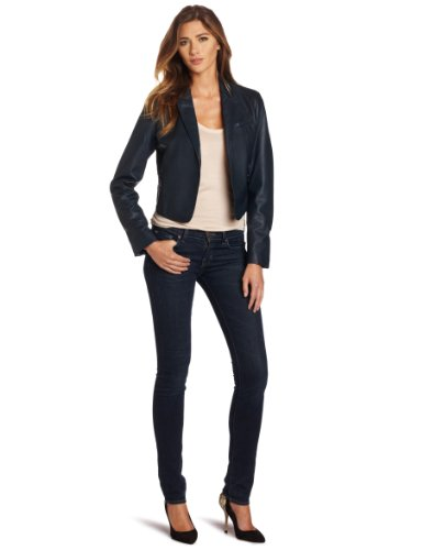 Kenneth Cole Women s Zip Back Leather Jacket, Navy Seal, X-Small